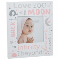 Love You to the Moon and Back Baby Picture Photo Frame Baby Girl Pink
